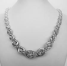 Sterling silver graduated rope chain necklace 14mm-6,5mm