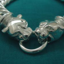 Women's sterling silver double panther bracelet. Double curb link chain 12,5mm.