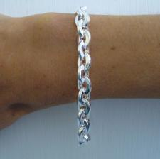 Solid sterling silver square link bracelet 8,5mm.