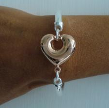 Sterling silver semi-bangle bracelet with 18 kt rose gold plating heart 26mm.