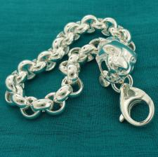 Women's sterling silver panther bracelet. Round rolo link chain 9mm.