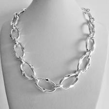 Sterling silver handmade necklace. Asymmetrical link 17x27mm.