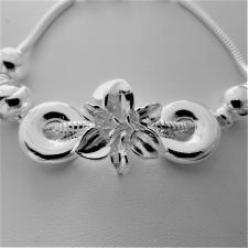 Bracciale in argento 925 charms scorrevoli. Fantasia fiore.