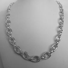 Sterling silver graduated oval link necklace 12mm - 8,50mm. Hollow chain.