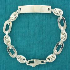 Sterling silver men's bracelet. Solid rectangular & mariner link chain. ID bracelet.