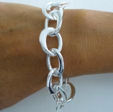 Sterling silver handmade bracelet with oval link