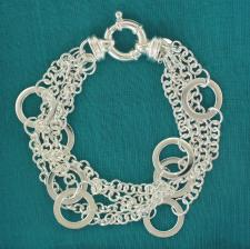 Women's silver bracelet with round flat link