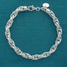 Bracciale artigianale in argento 925 MASSICCIO maglia ovale doppia. Larghezza 5,8mm.