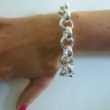 Bracciale argento rolo tondo 18mm - Bracciale donna argento 925