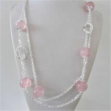 Collana in argento 925, sfere in quarzo rosa 16mm. Catena a maglia forzatina e maglie ovali textu...