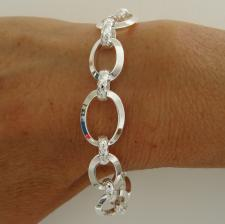 Sterling silver textured link bracelet 14,5mm. Made in Italy.