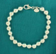 Sterling silver bead bracelet 8mm.
