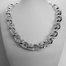 Sterling silver hollow oval chain necklace 14mm