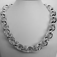 Sterling silver oval rolo link necklace 14mm. Hollow chain. Compact link. Oval belcher necklace. ...