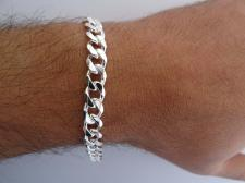 Men's sterling silver solid diamond cut curb bracelet 8mm