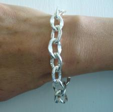 Women's sterling silver bracelet oval link 12mm