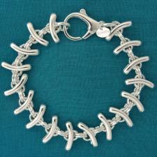 Silver fishbone link bracelet