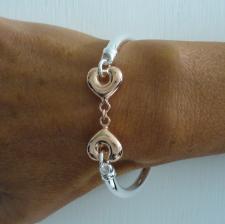 Bracciale argento 925 tubo cuori rosa - Bracciale donna in argento 925 bicolore.