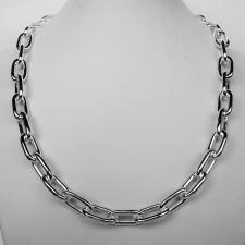 Sterling silver rectangular link necklace 9mm. Hollow chain.