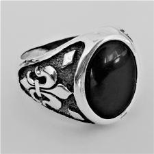 Anello chevalier ovale pietra onice e argento