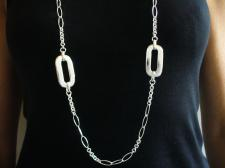 Long sterling silver necklace cm 105