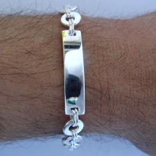 Sterling silver men's bracelet. Solid rectangular & round link chain. ID bracelet