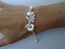 Bracciale argento coda di topo snake con ciondoli a fiore