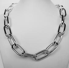 Sterling silver rectangular link necklace 14,5mm. Hollow chain.