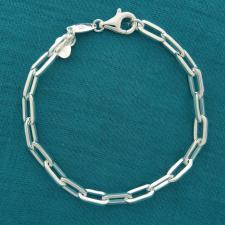 Bracciale in argento 925 massiccio, maglia allungata, filo sezione quadrata piccola.
