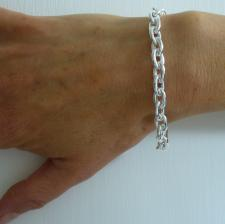 Sterling silver oval link bracelet 8mm