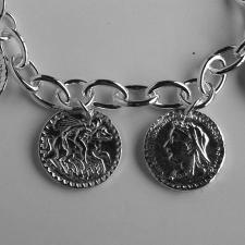 Money charm bracelet in sterling silver
