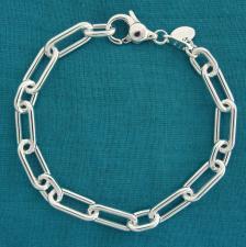 Bracciale in argento 925 massiccio, maglia allungata alternata 2+1, larghezza 7mm.