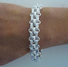 Handmade, 925 Italy silver panther link bracelet. Solid link chain 13,5mm.