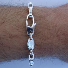 Sterling silver men's rectangular link bracelet