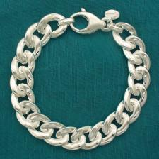 Solid sterling silver flat curb bracelet 12mm