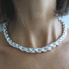 Sterling silver torchon necklace 10mm.