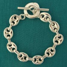 Bracciale in argento 925, maglia marina 12mm. Chiusura T-bar, Toggle.