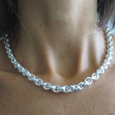 Silver oval rolo necklace