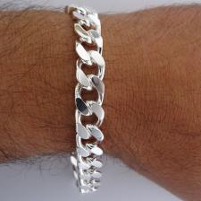 Sterling silver diamond cut curb bracelet 10mm