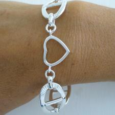 Solid heart bracelet in sterling silver