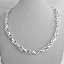 Collana artigianale in argento 925 MASSICCIO maglia ovale doppia. Larghezza 8mm.