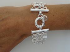Bracciale argento 925 largo 26mm maglia armatura - Bracciale donna