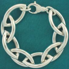 Sterling silver women's handmade bracelet. Hollow large ogival link 20mm.