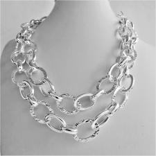 Sterling silver textured link necklace length 90 cm