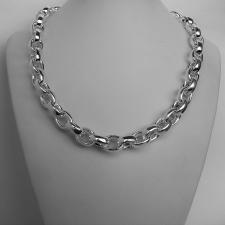 Oval rolo necklace in sterling silver