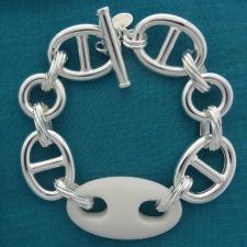 Bracciale in argento 925 traversino 18mm e agata bianca.