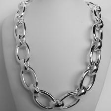 Sterling silver oval chain necklace 20mm. 130 grams.