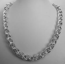 Sterling silver torchon link necklace 10mm.