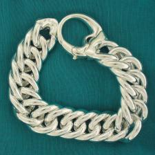 Sterling silver large double curb bracelet 18mm. Hollow link. Big oval closure.