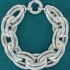 Sterling silver large double oval link bracelet 18mm. Hollow chain.